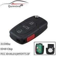 3 + 1 düğmeler uzaktan anahtar VW Volkswagen Beetle Golf için 1988 1999 2000 2001 Volkswagen HLO1J0959753F 753F 315mhz orijinal anahtar