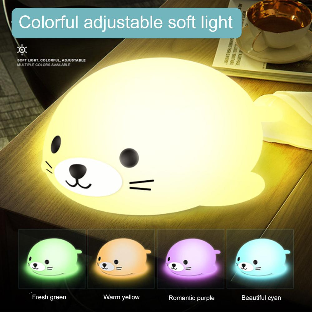 LED Seal Night Light Dimmable Body Bedside Bedroom Night Lamp Touch Sensor Light Kids Gift Animal Cartoon Decorative Living Room