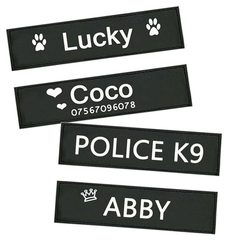 2 uds. Etiqueta de perro personalizada chaleco arnés de perro personalizado etiqueta colorida nombre o logotipo de perro personalizado accesorios de mascotas DIY