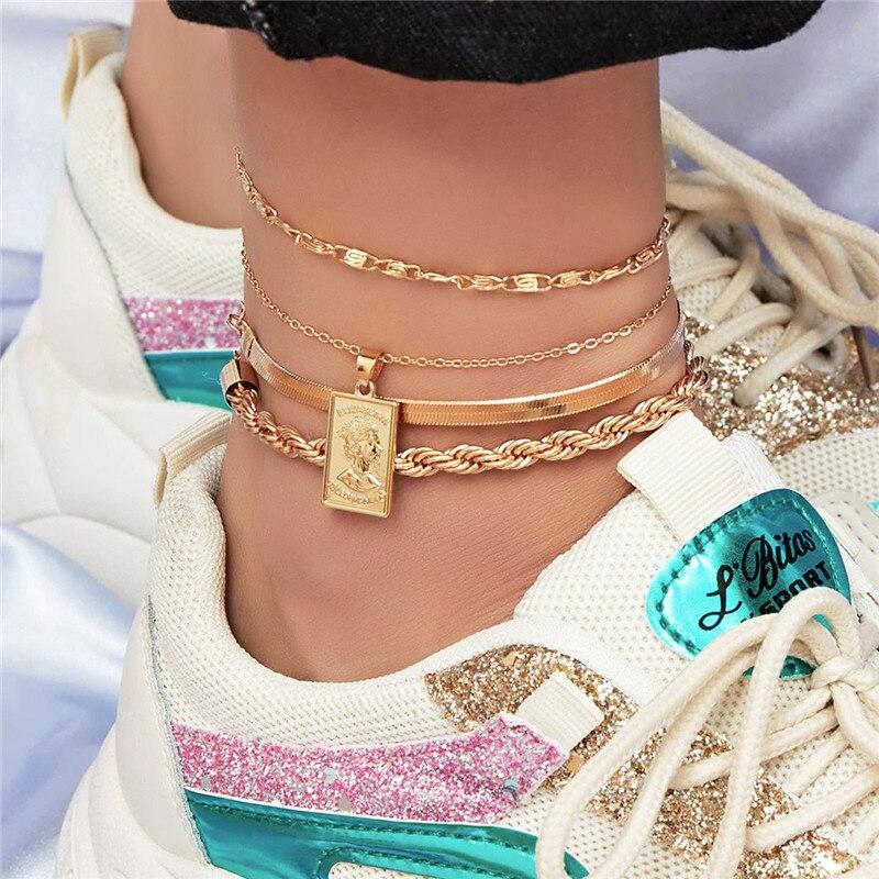 1 Set ( 4 PCs/Set) Hyperbole Copper Anklet Gold Silver Color On Foot Ankle Bracelets For Trendy Women Leg Jewelry 22cm long