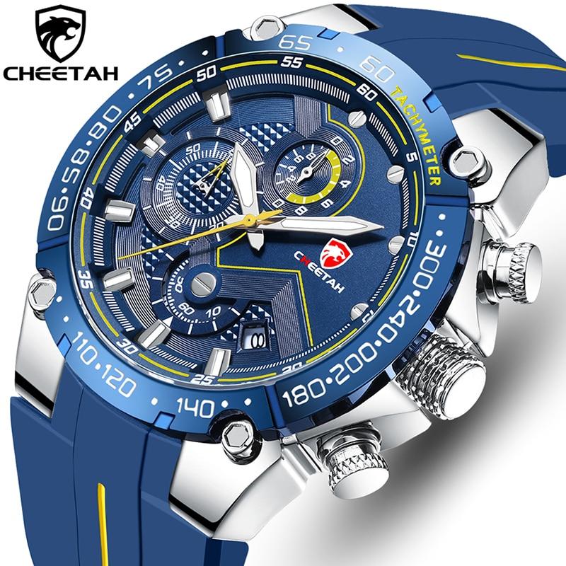 CHEETAH New Watches Mens Luxury Brand Big Dial Watch Men Waterproof Quartz Wristwatch Sports Chronograph Clock Relogio Masculino