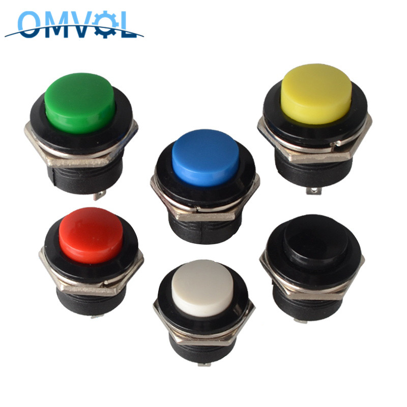 5PCS 16mm Momentary Push Button Switch R13-507 Self-Recovery Reset Button