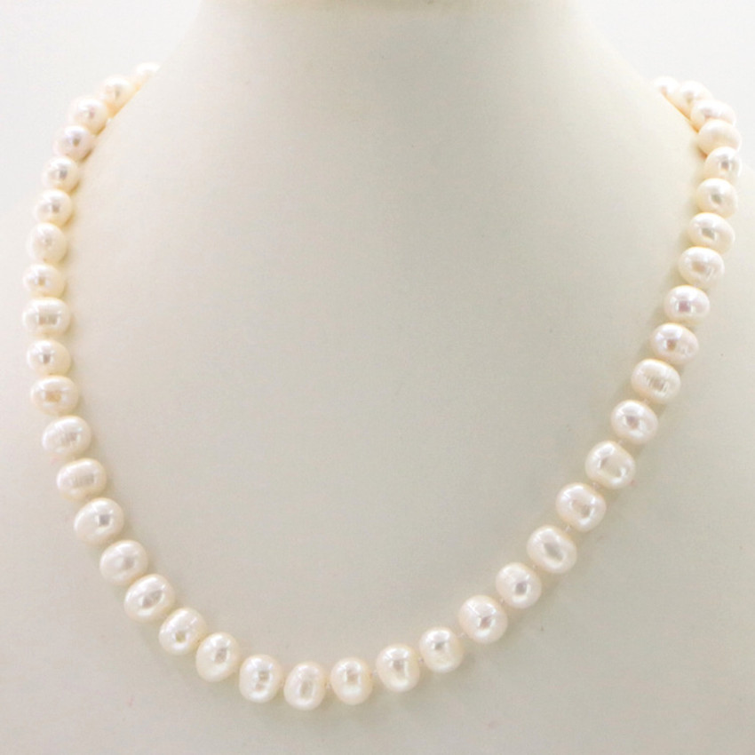 Natural pearl jewelry Wholesale jewelry Beautiful! Hot new fashion 8-9MM White Freshwater Cultured Pearl necklace 18″ Woman