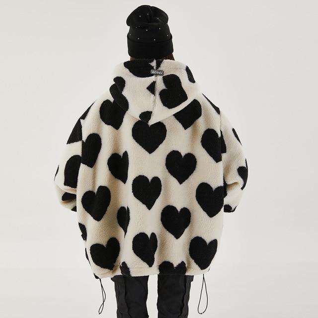 Aolamegs Cute Heart-shaped Print Lambswool Winter Jacket Men Drawstring Pockets Zipper Hooded High Street Warm Couple Streetwear 5