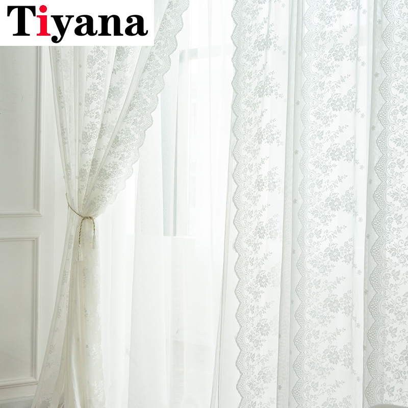 Lace Curtains Kitchen Window Rustic Home Decor White Sheer Curtains Flower Pattern Short Tulle Drapes Single Panels Zh024z Curtains Aliexpress