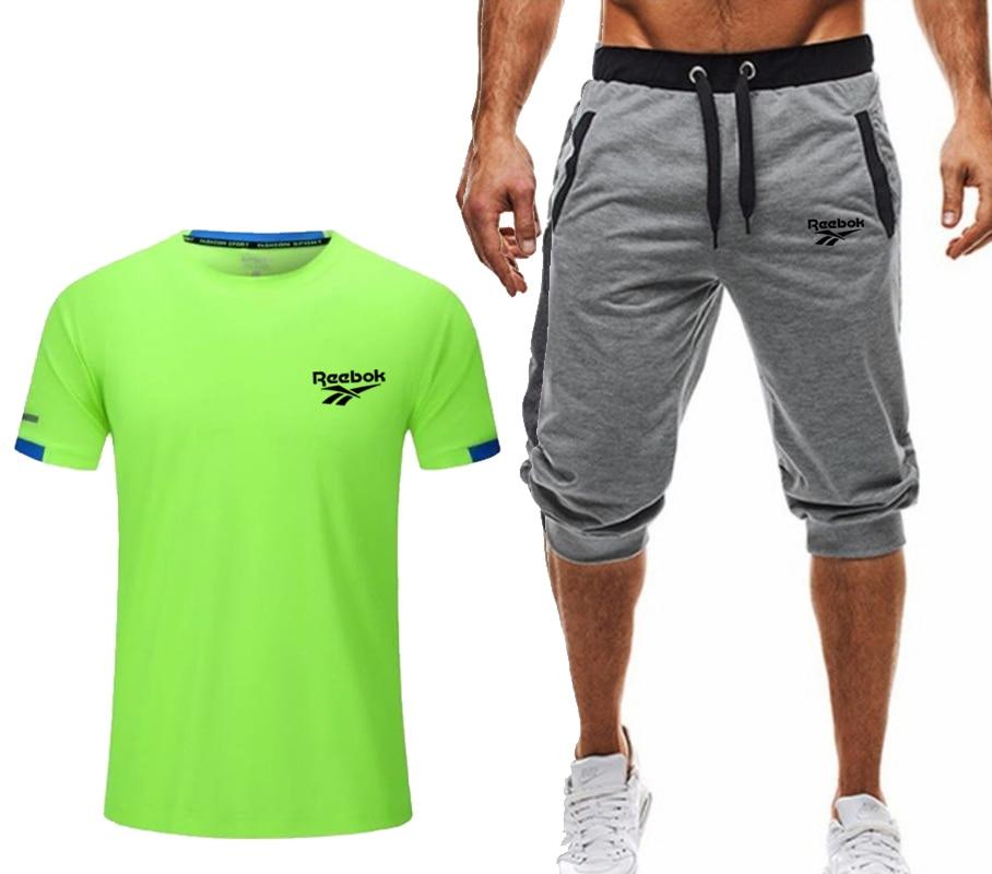Casual shorts 2 piece sets men outfits t-shirt summer short set tracksuit men sport jogging sweatsuit basketball jersey suit