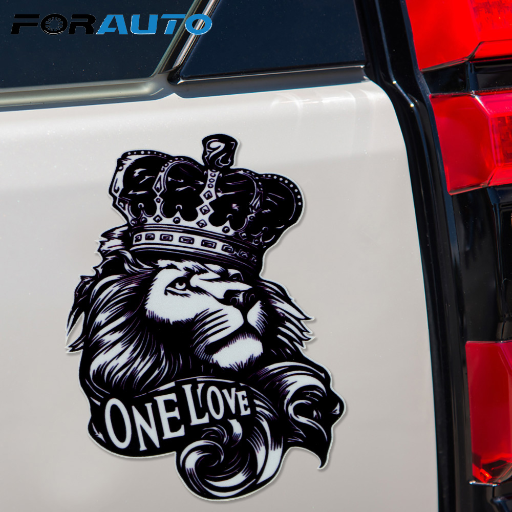 One Love Lion Crown Graphic High Quality Animal Car Sticker DIY Decor Vinyl Car Sticker Decal 16.5*11.2CM Cartoon Car Sticker