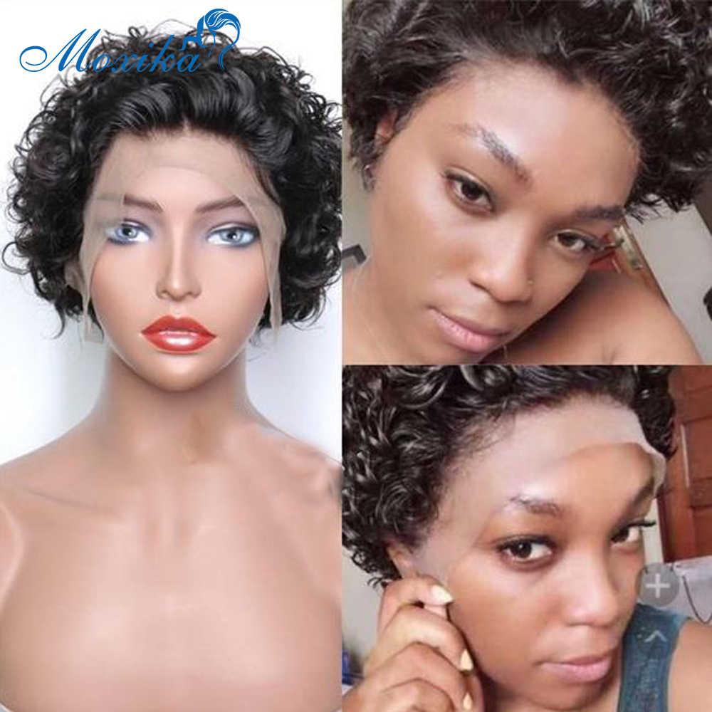 Jerry kręcone ludzkie włosy peruki peruwiański włosy peruka 150% gęstość Remy peruka krótka fryzura Pixie peruka dla czarnych kobiet kręcone koronki przodu peruki