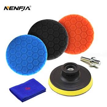3pcs Hexagonal Polished Pad Set Sponge Disc Buffing Sponge Waxing Polishing Pad Kit Set For Car Polisher Buffer 3/4/5/6/inches