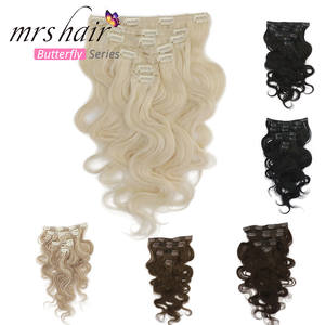 Human-Hair-Extensions Clip-In MRS 80G-100G Machine-Made Body-Wave Remy Full-Head