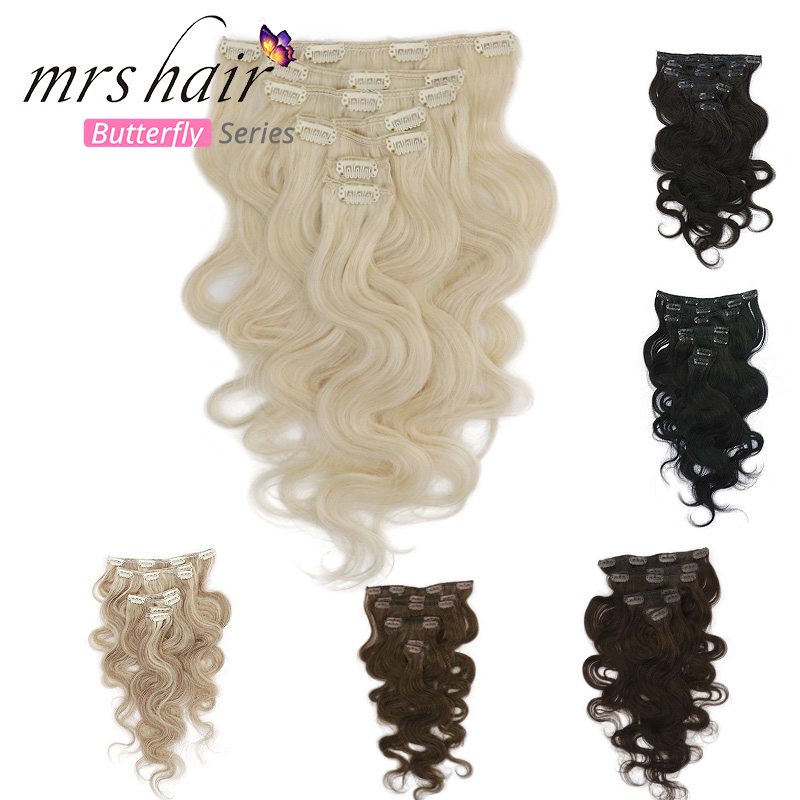 MRSHAIR Body Wave Clip In Human Hair Extensions Machine Remy Human Hair Extensions Full Head Natural Hair 80G-110G