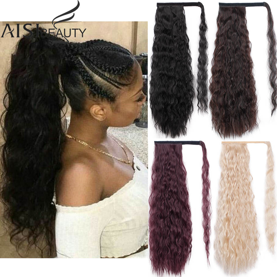 AISI BEAUTY Kinky Curly Ponytail Extension Synthetic Wrap Around Magic Paste Ponytail Corn Clip In Hair Extensions For Women