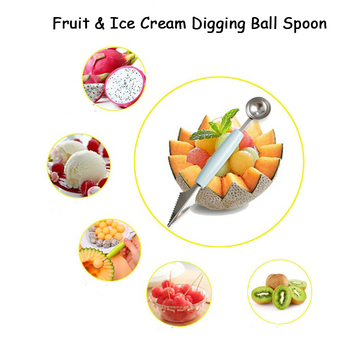 Ice Cream Digging Ball Scoops Fruit Carving Knife Digging Spoon 2In1 Fruit Platter Maker Ice Cream Tools Kitchen Gadgets image