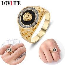 Обувь в стиле панк для мужчин кольца с львиными головами Кристалл Эмаль кольцо для женщин золотой сплав полые кольца в винтажном стиле, в ст...