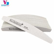 50 X Nail Sunshine Nail File Strong Thick Wood Manicure Vijl 100/180 Sandpaper Nails File Buffs Buffing Grey Boat Nail Care Tool