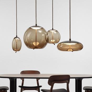Modern Glass LED Pendant Lights Luminaire Suspendu Rope Hanging Lamp Designer Home Cafe Bar Restaurant Light Fixtures Drop Ship