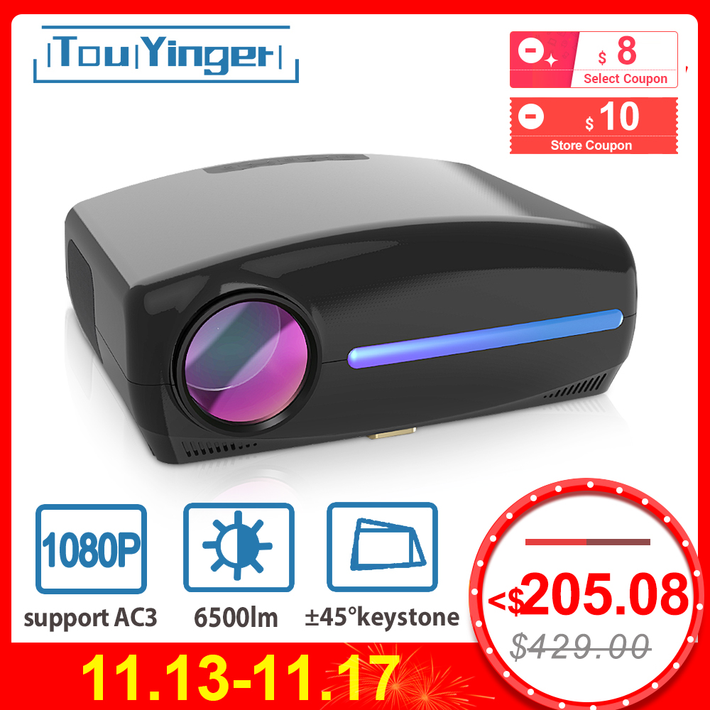 Touyinger LED Native 1080P Projector full HD beamer AC3 Video 6500 Lumens S1080 Home cinema HDMI Android 9.0 WIFI Optional
