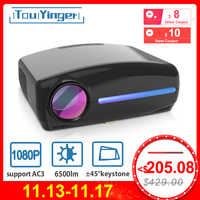 Touyinger LED Native 1080P Projektor full HD beamer AC3 Video 6500 Lumen S1080 Home cinema HDMI Android 9.0 WIFI Optional