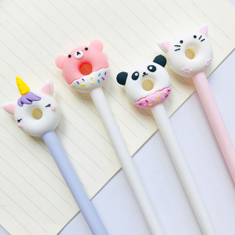 2X Kawaii Panda Unicorn Cat Bear Donut Gel Pen Rolelrball Pen School Office Supply Stationery Blue Ink 0.5mm