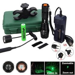 Q5 T6 Taktis 5000lm Zoomable Berburu Senter Hijau/Merah/Putih LED Senjata Lampu + Senapan Mount + 18650 + Pressure Switch + Charger
