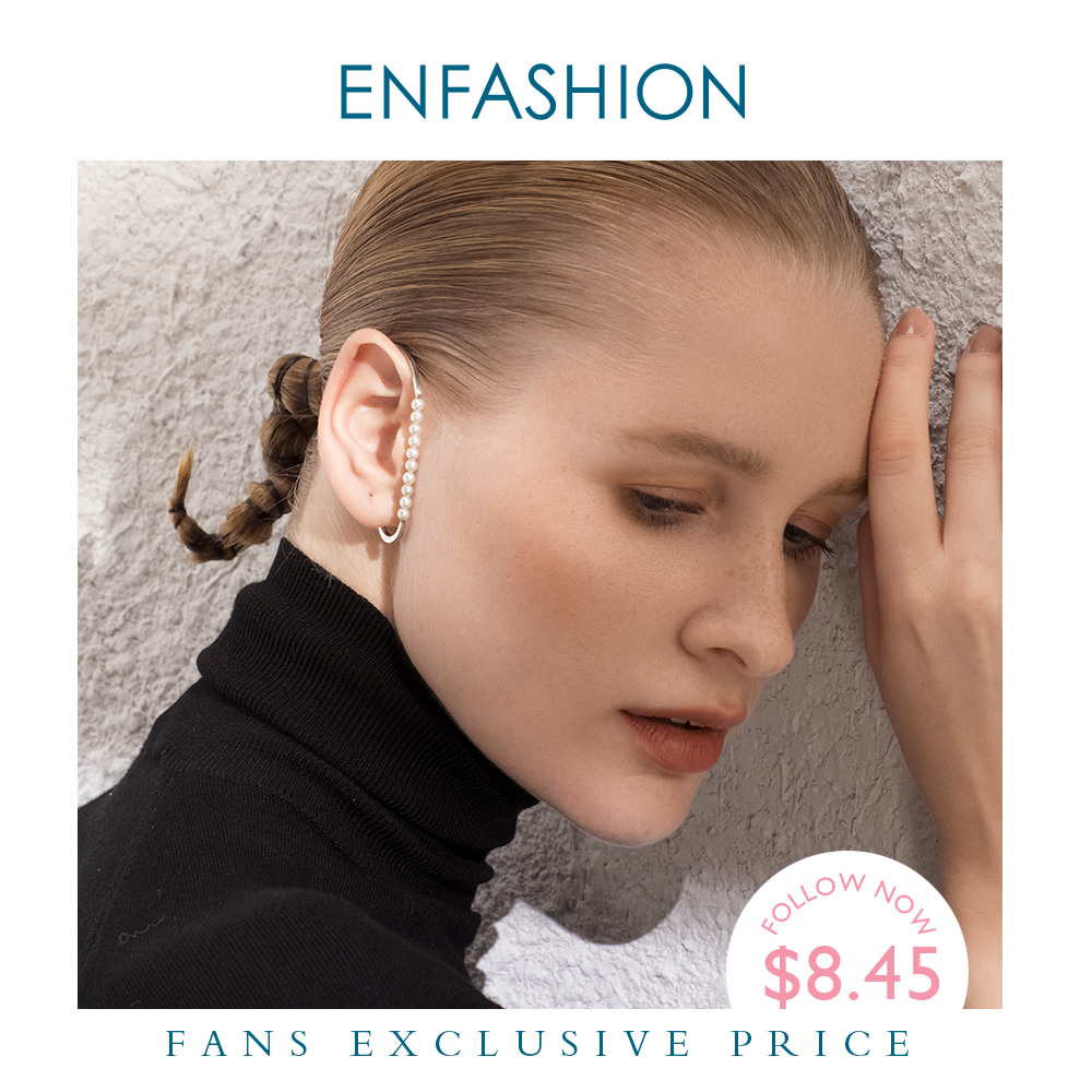 ENFASHION Pearl Ear Cuff Clip On Earrings For Women Gold Color Minimalist Earcuff Earings Without Piercing Fashion Jewelry E1131(China)