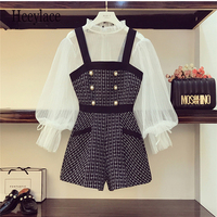 2019 Autumn Winter Vintage Plaid Tweed Playsuits Women Sleeveless Pearl Button Pocket Jumpsuit Overalls Lady Slim Shorts Rompers