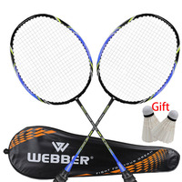 2pcs Professional Badminton Rackets Set Ultra light Double Badminton Racquet Titanium Alloy Lightest Playing Badminton whole