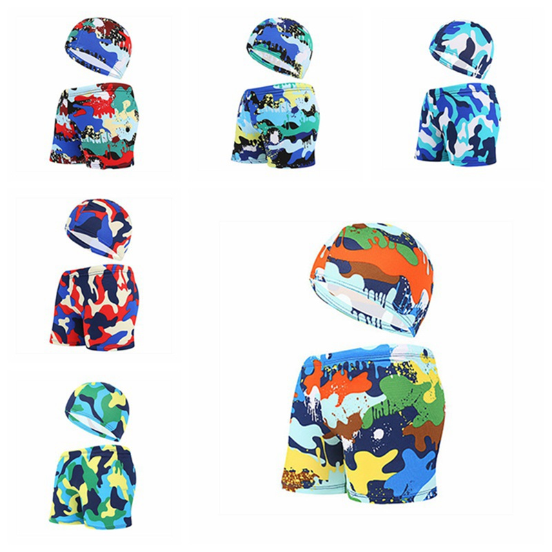 New 2Pcs/Set Swimming Trunks+swim Caps For Kids Swimwear Plus Size  Boys Swim Trunks Animal Board Shorts