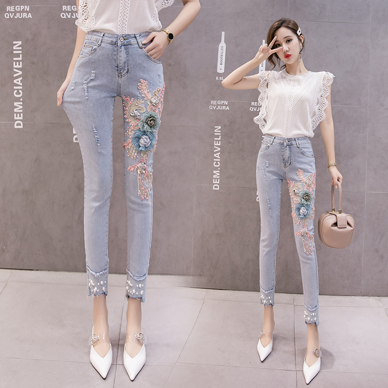 Women Denim Pants Embroidery Floral Skinny Jeans Pencil High Waist Trousers