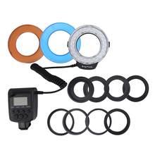 Flash de anillo LED Macro profesional HD-130 Bundle3000 ~ 15000K con 8 anillo adaptador para Flash Canon para Nikon, cámara Olympus DSLR