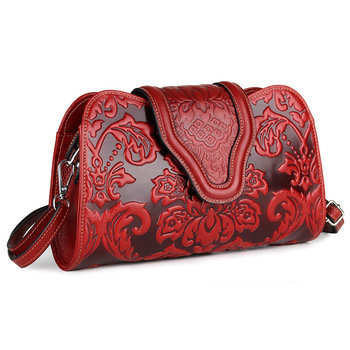 small genuine leather bag women embossed floral shoulder bags ladies cow leather handbags chinese style woman handbag