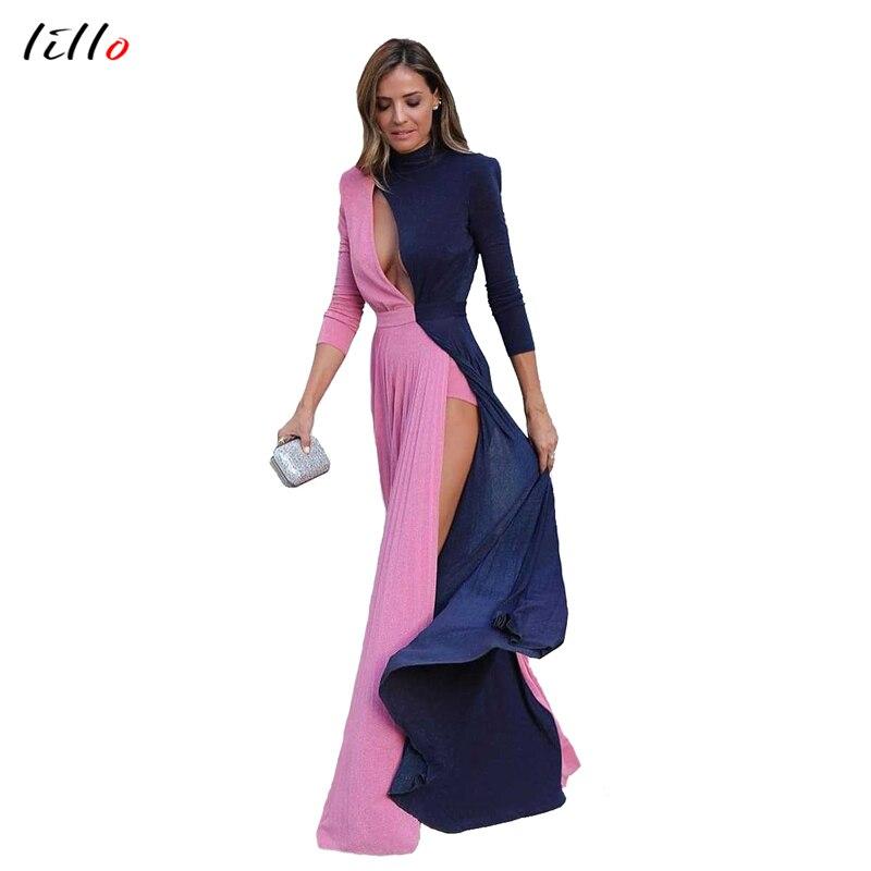 Elegant Vintage Dress Autumn Office Women's New Contrast Color Stitching Sexy Long Dress Hollow Design High Waist Split Temperam