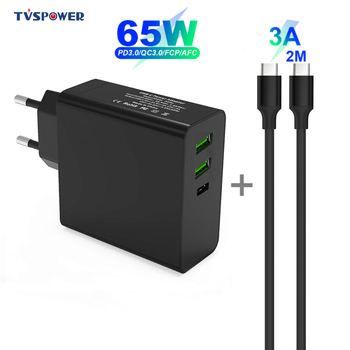 65W 3 Ports USB C Power Adapter PD/QC3.0 45W/29W TYPE-C Wall Charger Black For MacBook Laptops/iPad/Xiaomi/Samsung (USB-C cable) gan 65w 45w pd usb c type c phone laptop charger power adapter for macbook asus zenbook lenovo dell xiaomi air hp sony power