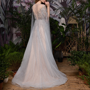 Image 2 - Silver Grey Luxury Dubai Evening Dresses 2020 Long Sleeves O Neck A Line Sexy Evening Gowns