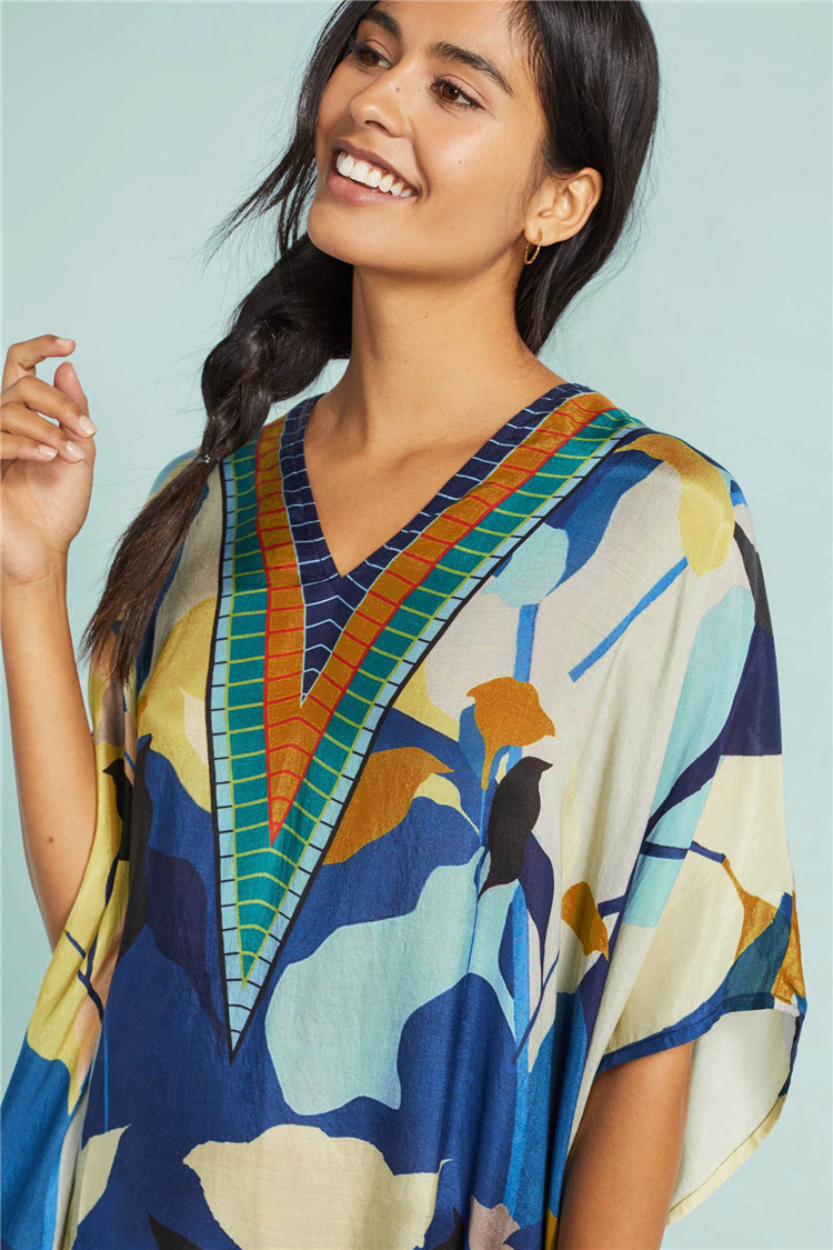 Europe And America New Style Cotton Heat Transfer Floral Patterns Printed V-neck Robe-like Beach Skirt Bikini Outer Blouse Sun S