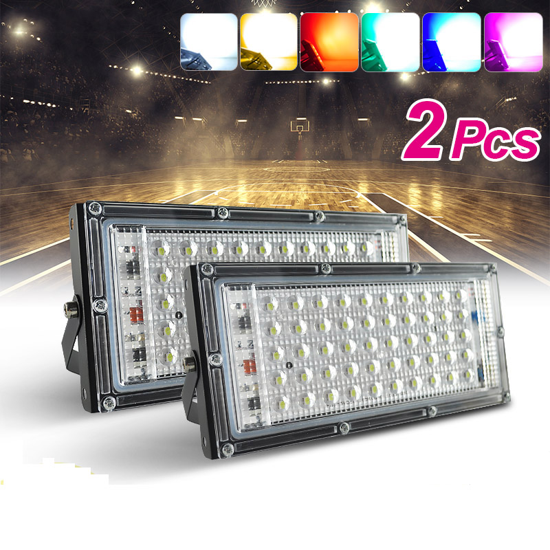 2pcs/Lot LED Flood Light 50W RGB Floodlight Street IP65 Waterproof Outdoor Wall Reflector Lighting AC220V Garden Spotlight Gate