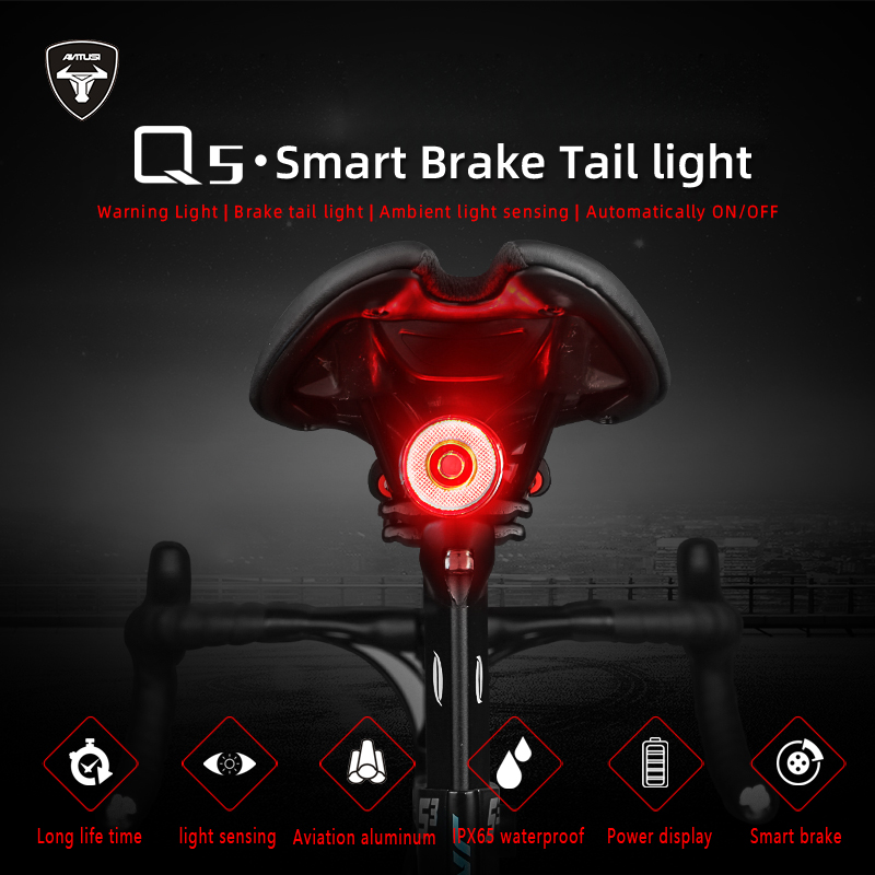 Q5 smart Bicycle taillights Intelligent sensor Brake lights usb Road bike MTB Rear taillights title=