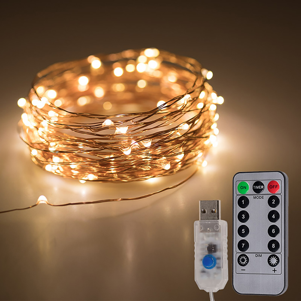 10M USB LED String Lights 8 Mode Copper Wire String Garland Fairy Light For Indoor Outdoor Wedding Christmas New Year Decoration
