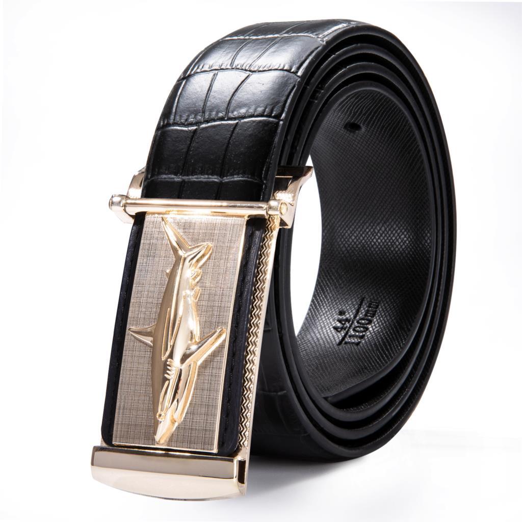 Hi-Tie New Fashion Pin Buckle Leather Belts For Men Black Easy Belt 2019 Shark Buckles Belt Luxury Crocodile Leather Designer