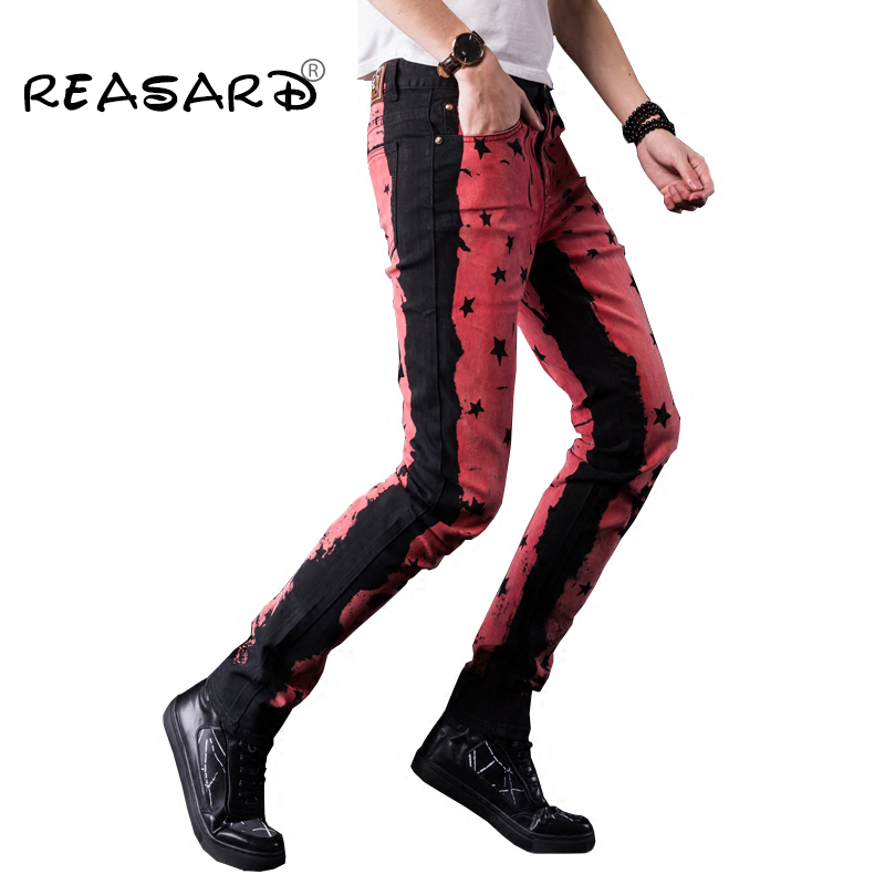 Punk Style Personality Printed Rock Jeans Men Black Casual Slim Fit Skinny Jeans For Man,size 28-38
