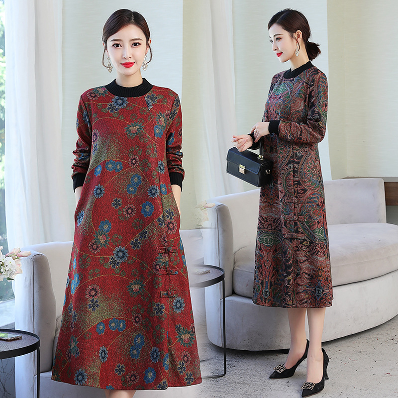 2019 Autumn And Winter New Style Woolen Over-the-Knee Large Size National Wind Retro Frog Dress Women's