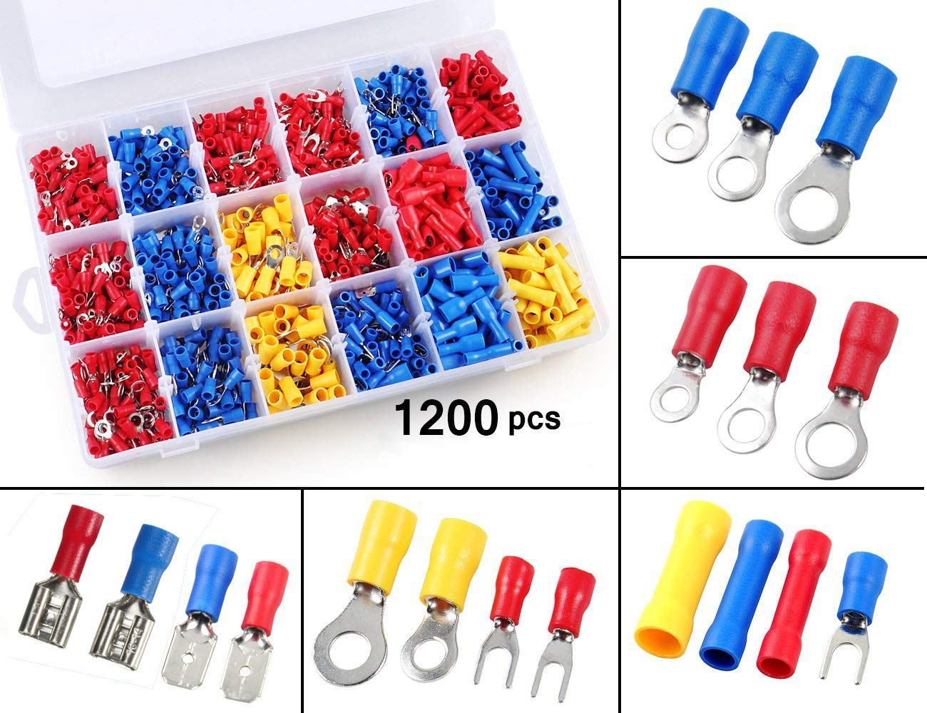 360 Pieces Assorted Auto electrical terminals spade butt bullet fork terminals