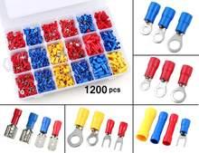 1200 Uds eléctricos conectores UYO tipo aislado crimpado terminales surtido mixto Lug Kit anillo Tenedor de horquilla y de tope conector conjunto
