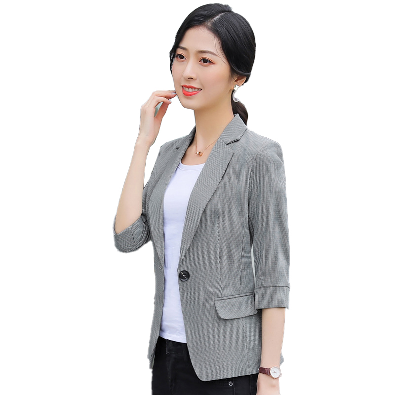 2020 Women Blazers and Jackets Half Sleeve Ladies Female Elegant Formal Office Work Wear Clothes OL Style Blazer Casual Long