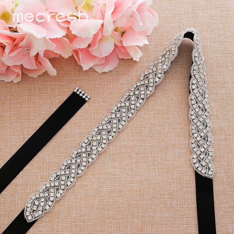 Mecresh Silver Crystal Rhinestone Wedding Belt Black White Pink Ribbon Bridal Belt Sash For Wedding Gown Women Accessories YD022