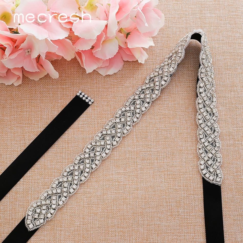 Mecresh Silver Crystal Rhinestone Wedding Belt Black White Pink Ribbon Bridal Belt Sash for Wedding Gown Women Accessories YD022