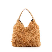 Winter Fashion Plush Hobo Shoulder Bags for Women 2019 Brown Underarm Bags Fur Clutches Women Leather Handbags Bolsa Female(China)