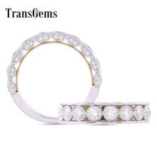 Transgems Vintage Two Tone 14K 585 White and Yellow Gold DEF Color Moissanite Half Eternity Wedding Band Rings for Women