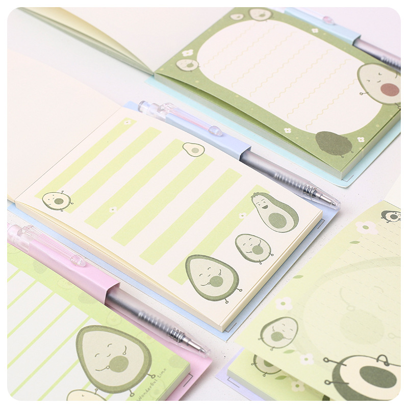 Cute Avocado Patter Mini Portable Notebook With Pen Loose Leaf Memo Pad To Do List Stationery Decoration School Office Supply