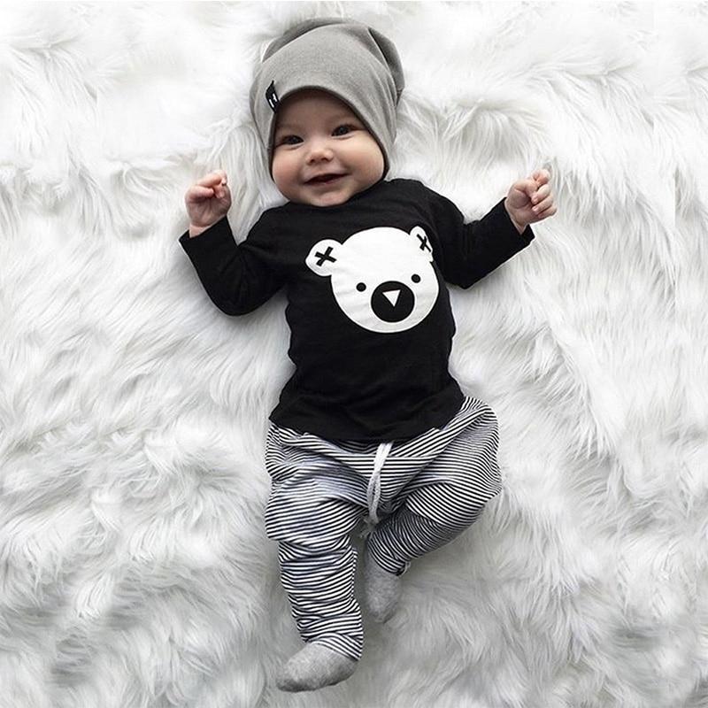 Bebek çocuk kız erkek giysileri set takım elbise 2 adet sonbahar karikatür Koala t-shirt çizgili pantolon kıyafetler Set Toddler uzun kollu